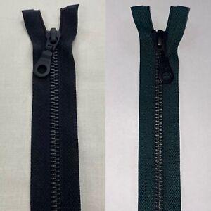 YKK NO.5, 91cm Open Ended Zip, BLACK OXIDISED Teeth, Black or Bottle Green Tape