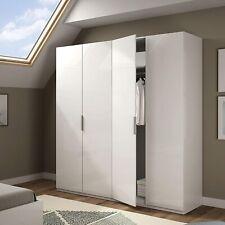 MAX 180cm Wide 4 Door Extra Large Wardrobe in White Veneer Melamine