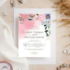 10 Wedding Invitations Day/Evening Watercolour Floral