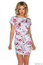 Kurzarm Minikleid Kleid mit Blumen Muster Sommerkleid