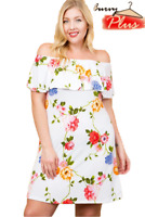 Women's Plus Size Flirty Summer Floral Print Relaxed Fit Off Shoulder Dress
