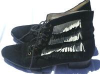 Minimarket Womens  Sz 38 Ankle Boots Leather W/ Black White Fringe Lace Up #15-8