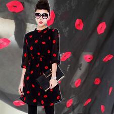 "Chiffon Fabric Black Background Red Lip Wedding Fabric Skirt Bottoming 59"" width"