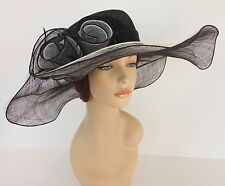 New Church Derby Wedding Sinamay 2 Layers Dress Hat 1765 Black & Off White