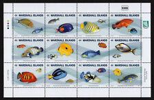 MARSHALL ISLANDS, SCOTT # 1003, FULL SHEET OF 12 FISH & MARINE LIFE, YEAR 2011