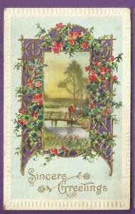 Greetings embossed postcard/ man on bridge/ frame with gold designs/roses/purple