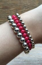 Pretty Pink & Silver Bead Bracelet/Bobble/Metallic/Stretchy/Plastic/Retro