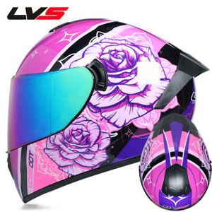 Female Full face motorcycle helmet Pink double lens DOT motorradhelm fur frauen