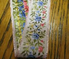 "2 Yd x 3/4"" Vintage blue pink flower Jacquard Ribbon~ new/old stock"