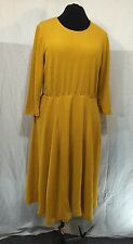 GORGEOUS MUSTARD TEXTURE KNIT FLARE DRESS by WEARABOUTS size XL