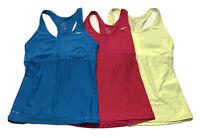 Nike Dri-Fit Lot of 3 Racerback Tank Tops Built in Bra Medium Pink Blue Yellow