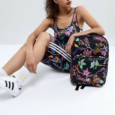 Adidas Originals W Summery Flower Multi Black Backpack New (777)