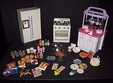 AS IS LOT Barbie Kitchen Littles~ Fridge Stove Island + RARE VTG HTF Accessories