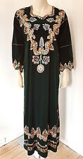 Vintage 1960s Green Velvet Ethnic Embroidered Kaftan Maxi Dress Size 10 12 14