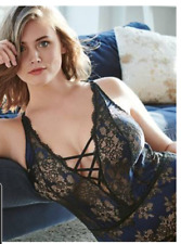 CACIQUE by Lane Bryant NWT sexy thong bodysuit teddy black/blue lace/satin