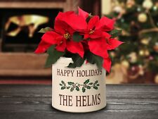 Personalized Holiday Holly 2 Gallon Stoneware Crock