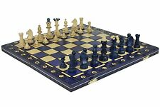 "Senator Wooden Chess Set - Blue - 16"" Folding Board - 3 1/4"" King"