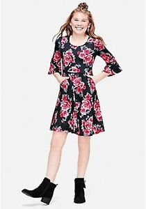 NWT GIRL'S JUSTICE FLORAL PRINT BOW BACK DRESS