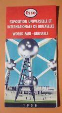 VINTAGE CARTE ESSO EXPOSITION UNIVERSELLE BRUXELLES 1958 AVEC PLAN CAMPING -TBE