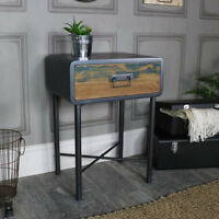 Rustic retro bedside lamp table industrial weathered reclaimed wooden furniture