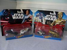 HOT WHEELS~STAR WARS~R2-D2 WITH C-3PO & PRINCESS LEIA WITH DARTH VADER~NIB~2014