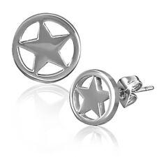 Zense - Boucles d'oreilles homme acier argenté avec forme étoile ZE0046