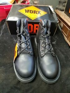 Mens Worx Division of Red Wing 5542 Black Leather Work Boots Size 8 M New NIB