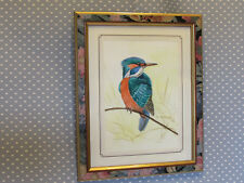 Original Beautiful M Semark kingfisher bird watercolour signed & dated painting