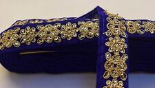 ATTRACTIVE INDIAN EMBROIDERY LACE TRIM ON VELVET SLIM  (BLUE) - SOLD by METRE