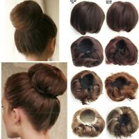 Women Straight Bun Hair Piece Scrunchie Updo Cover Hair Extensions Real Natural