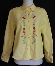 Women's Rough Rider Yellow Floral Embroidered Over-shirt Size L B:42 W:40 L:21
