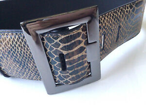 Jigsaw Brown Leather 6 Cm Wide Belt SIZE XS Animal Print 62 - 72 Cm Waist EUC