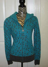 Womens Juniors Fox Racing Teal Gray Zip Up Hoodie Skull Patch Size Small