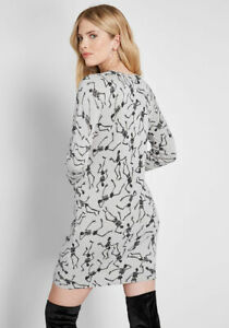 Modcloth Gray Skeleton Sweater Dress Knit The Mark Halloween Mini Size Small