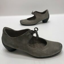 Ecco Womens Gray/green Leather Mary Jane Heels Tie Size 37