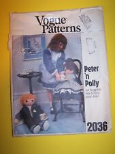 "Vogue 2036 sewing pattern Peter 'n Polly 24"" doll with clothes"