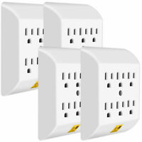 Set of 4 Multi Plug Outlets,  Wall Mount power strip with 6 Outlet Tap; UL List
