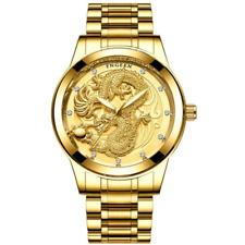 Luxury Gold Watch Men's Watches Men Quartz  3D Dragon Noble Design Stainless Ste