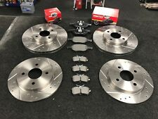 FOR FORD FIESTA MK6 ST150 CROSS DRILLED GROOVED BRAKE DISCS MINTEX PADS