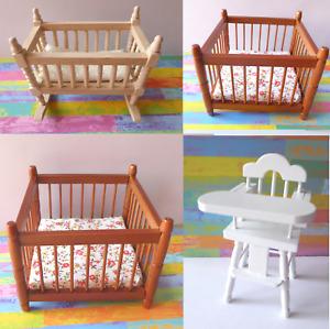 Hochstuhl Wiege Bett Laufstall Kinder Baby Möbel Puppenstube Miniatur 1:12