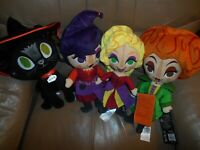 HOCUS POCUS PLUSH SET HALLOWEEN BINX CAT & 3 SANDERSON SISTERS NEW NWT DISNEY