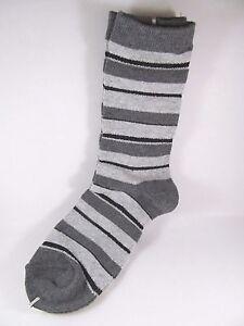 Davco Stripe Socks Womans Charcaol Gray Black Acrylic Blend Sock New