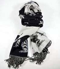 NEU 200x75cm XXL SCHAL schwarz-weiß WINTERMOTIV LANGSCHAL Fransen STOLA