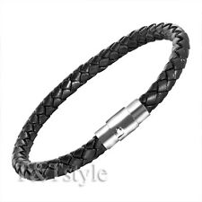 T&T Black Leather With Stainless Steel Buckle Bangle BR35D