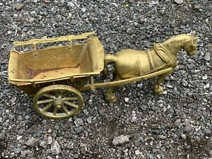 VINTAGE / ANTIQUE EARLY VERY HEAVY LARGE BRASS SHIRE HORSE PULLING OLD CART