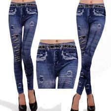 Blue Worn Torn Ripped Denim Look Leggings Stretch Pants One Size 9047-1
