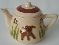 Child's Vintage Czecho-Slovakia Pottery DOG  PUPPY Butterfly Teapot Torquay Look