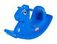 Little Tikes Kids Ride On Blue Rocking Horse Toddler Toy Playset