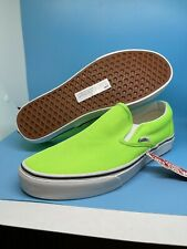 Vans Mens Classic Slip On Neon Green Gecko White Canvas Skate Shoes Size 11 Nwt