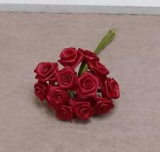 12 Diorröschen Satinröschen Hochzeit  rot Stoffrosen für Kopfschmuck